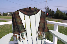 golden leaves woven scarf