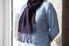 second scarf,                worn